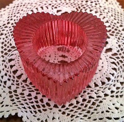 Vintage Pink Glass Heart Tealight Candle Holder