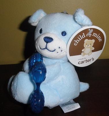 New Child of Mine Carter's Blue Puppy Dog plush Cold Teether baby toy