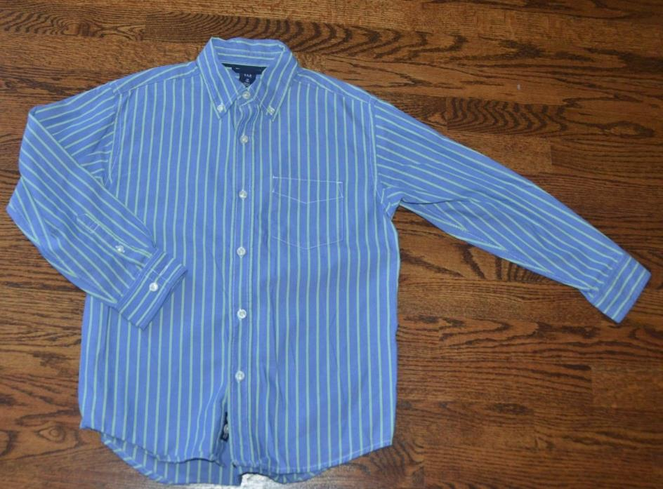 GAP BOYS M 8 BLUE GREEN STRIPED LONG SLEEVE DRESS SHIRT EASTER