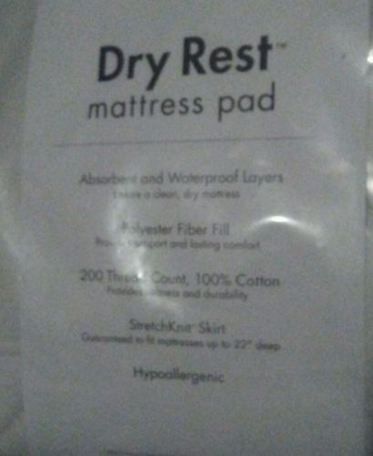 Dry Rest Twin XLong White Fitted Mattress Cover, 100% Cotton, NEW, NICE!
