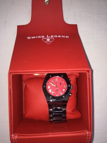 Collectable Men's Red Swiss Legend Watch With Box Case