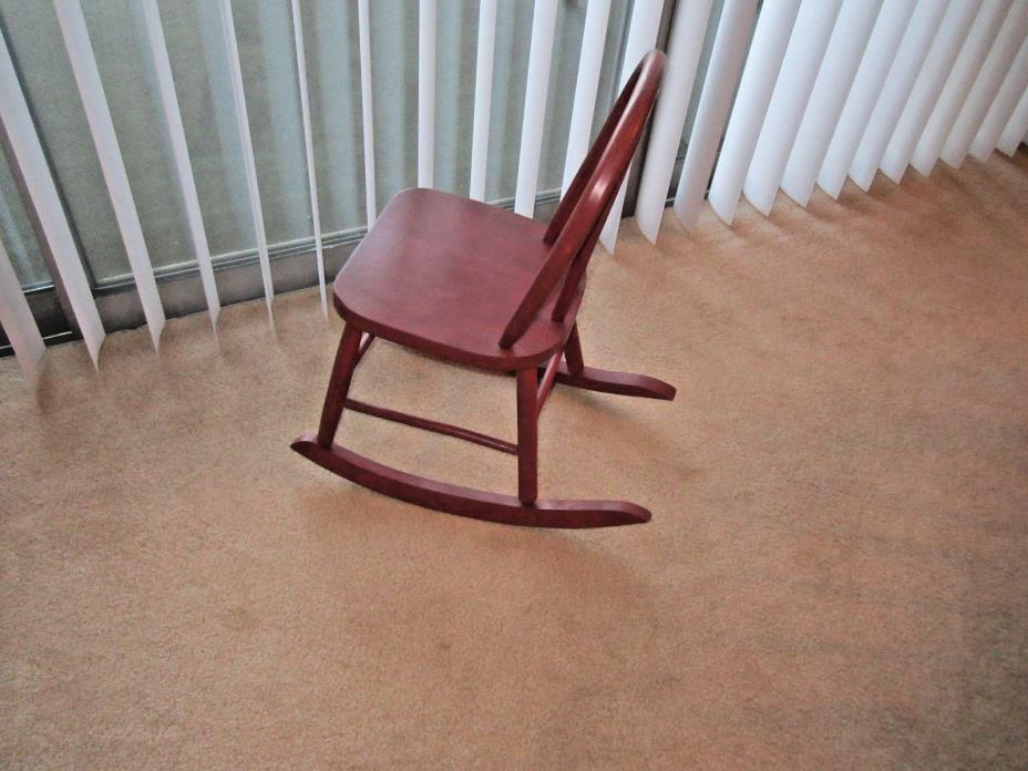 Vintage Country Red Bentwood Child's Rocking Chair Furniture or Doll Furniture