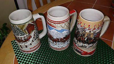1984, 1985 1986 Budweiser Holiday Steins Set of 3