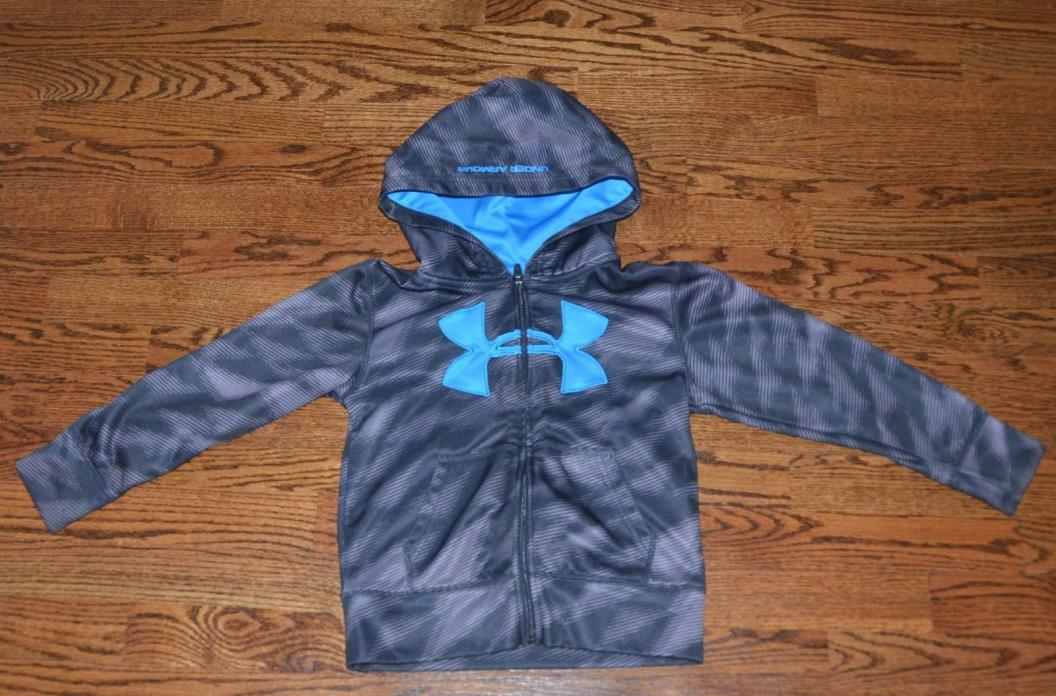 UNDER ARMOUR BOYS SIZE 5 GRAY BLACK BLUE ATHLETIC JACKET HOODIE