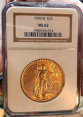 1909 over 8 $20, NGC MS62 ST GAUDENS  DOUBLE EAGLE V RARE, ONLY 916 GRADED MS62!