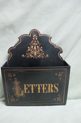 Antique Black and Gold wooden letter Holder