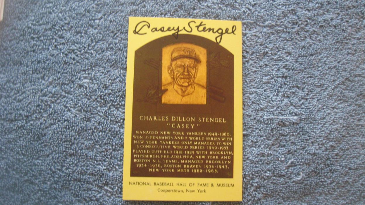 Autographed Casey Stengel yellow baseball HOF Plaque postcard.