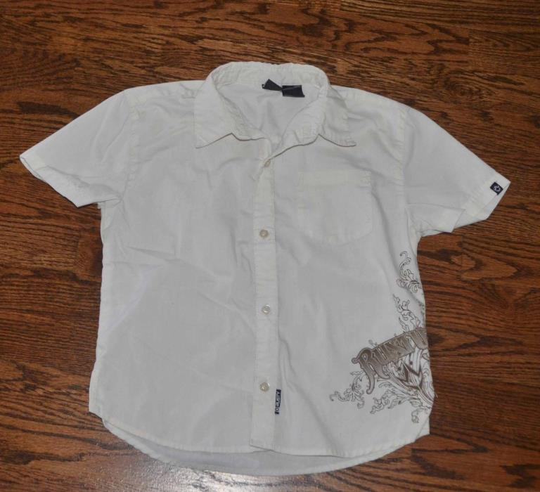 RUSTY BOYS 5/6 BEIGE BUTTON DOWN SHORT SLEEVE SHIRT