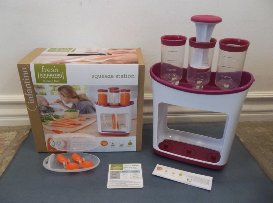 INFANTINO FRESH SQUEEZED SQUEEZE STATION & 30 BABY FOOD STORAGE POUCHES 2 SPOONS