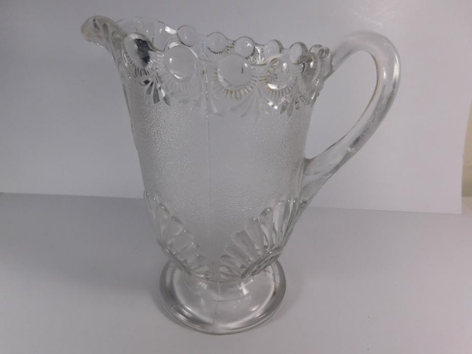 Antique Frosted Glass Decorative Water Pitcher