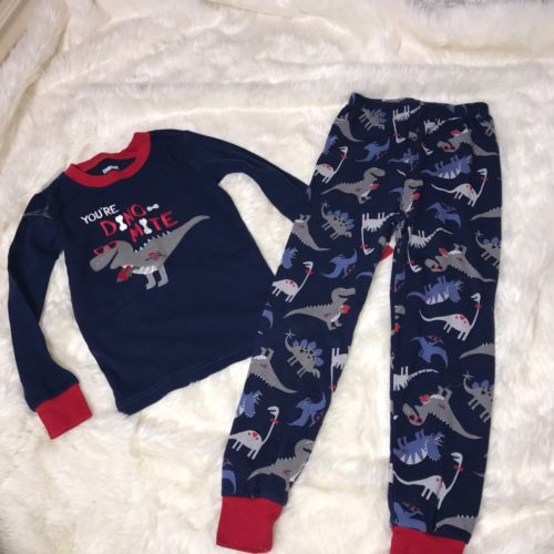 Gymboree Size 5T Your Dino Mite  Dinosaur Pj Shirt Pants Set 100% Cotton Perfect