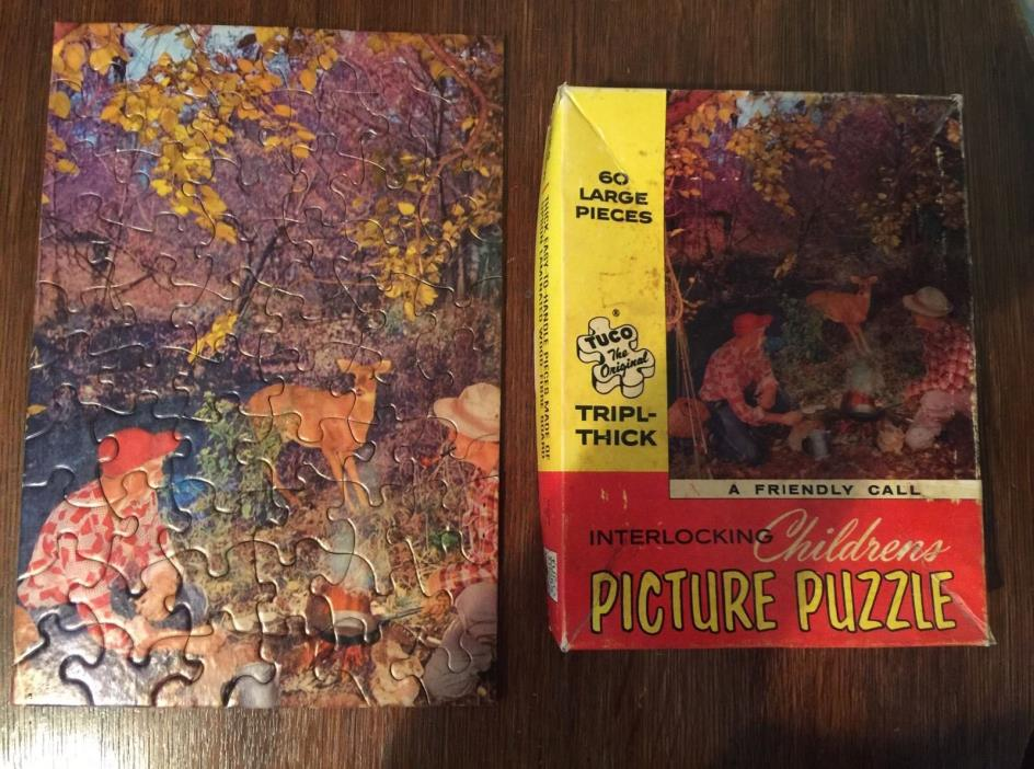 Vintage TUCO Jigsaw Picture Puzzle Triple Thick A Friendly Call 60 Pcs USA