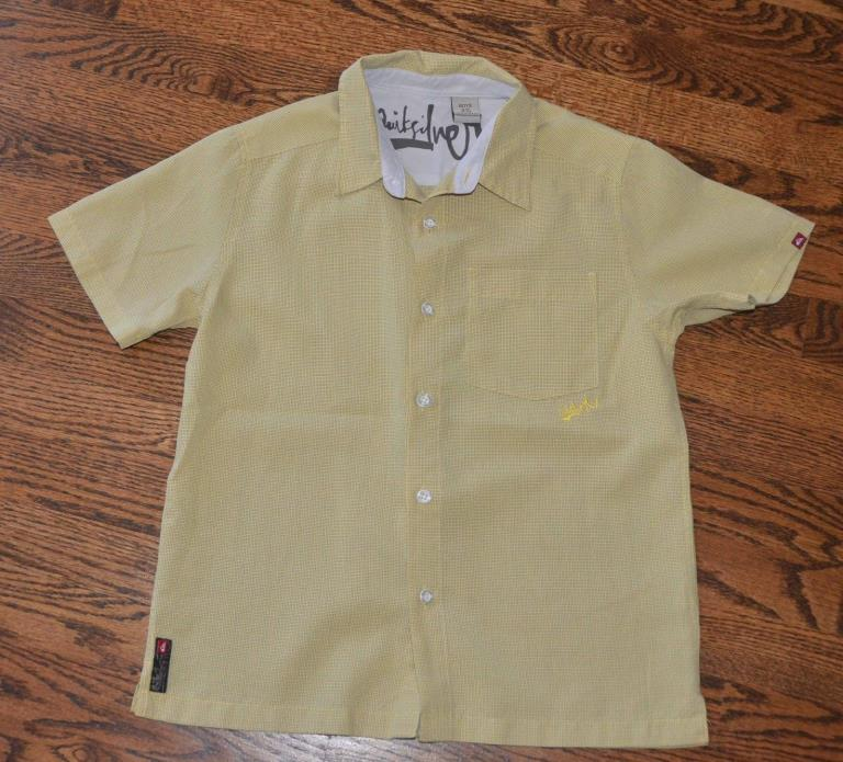 QUICKSILVER BOYS S 8/10 SUMMER SHORT SLEEVE BUTTON DOWN SHIRT MUSTARD YELLOW