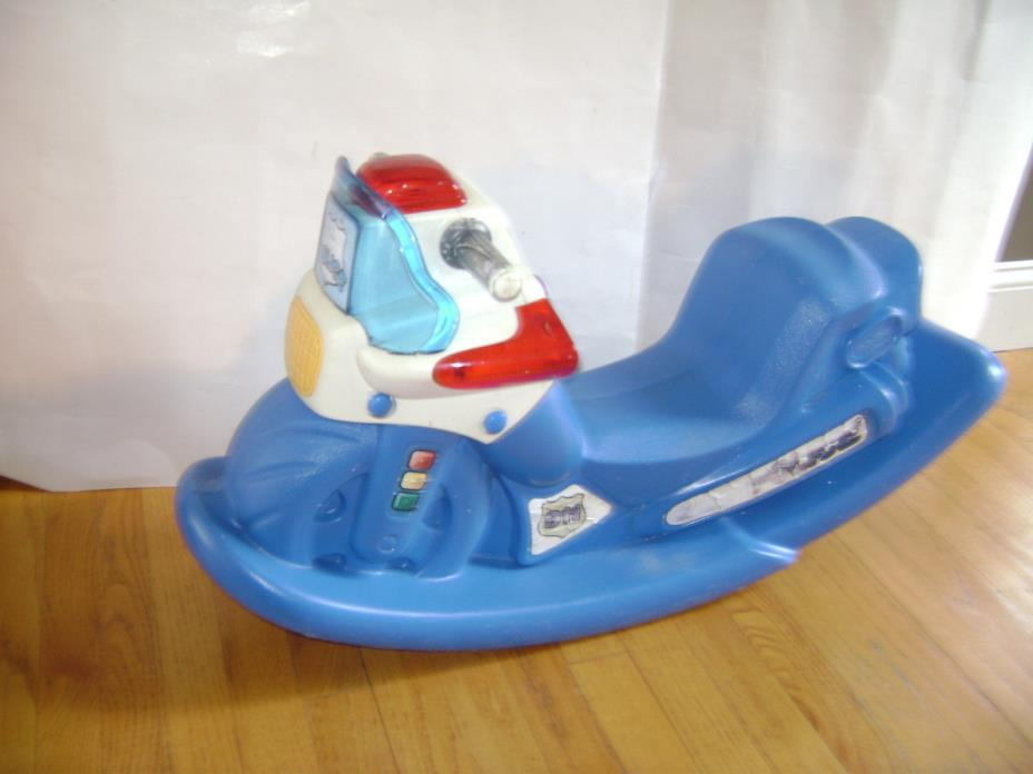 Little Tikes Police Motorcycle Lights Sound Rocking Chair Ride On Rocker Blue