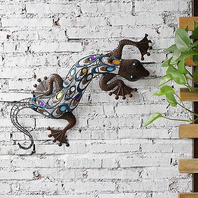 Metal Gecko Sticker Wall Art with Multicolored Beads Home Garden Decor