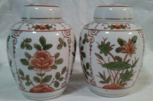 (2) Andrea Sadek Japanese Decorative Vase Urn with Lid Orange Green Gold Floral