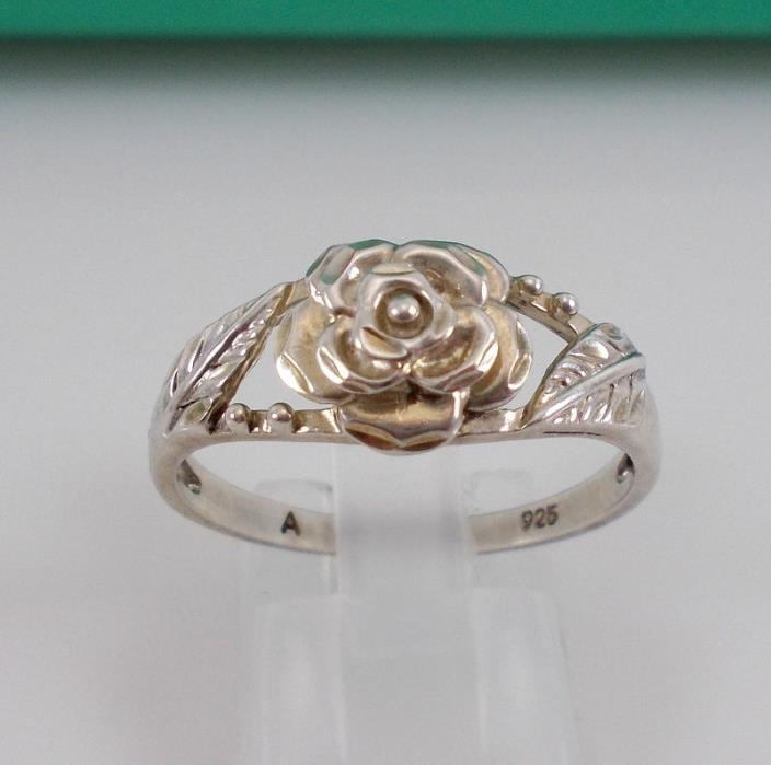Signed Sterling Silver Rose Flower Leaf Design Ring Size 10.75 Beautiful