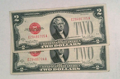 1928 CONSECUTIVE .  $2 Two Dollar Bills . HGR .  Red Seal . UNCIRCULATED