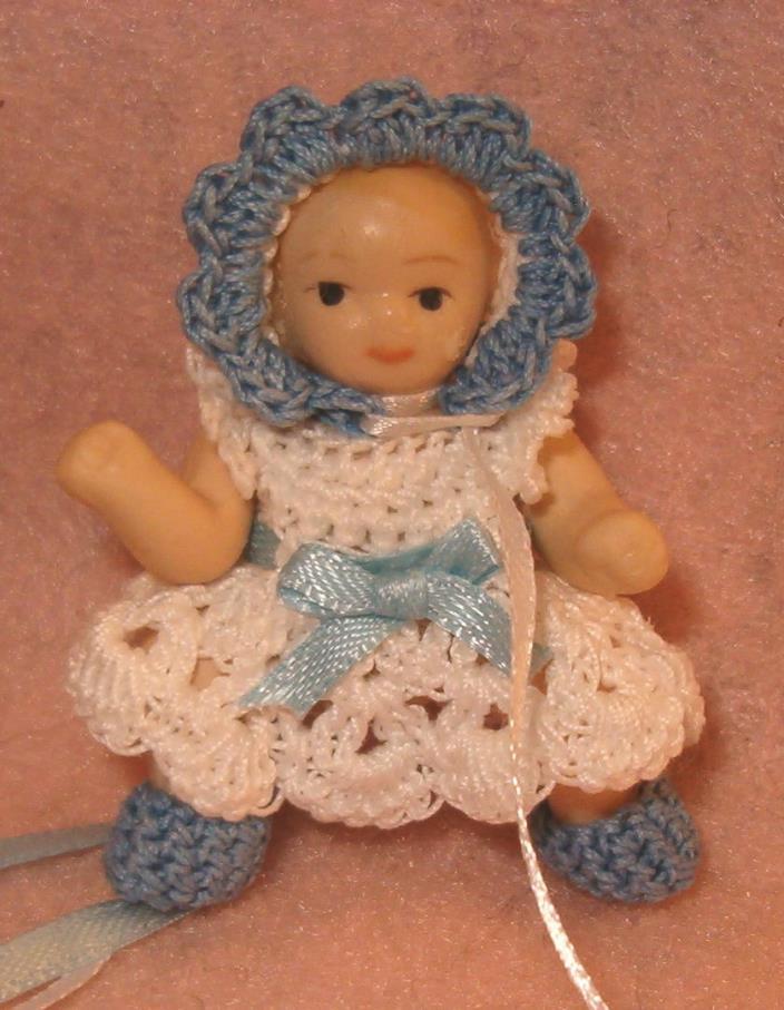 Dollhouse Doll Handmade Dress Bonnet and Booties Crochet