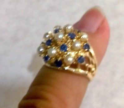 Ladies 14k solid gold ring with pearls and sapphires