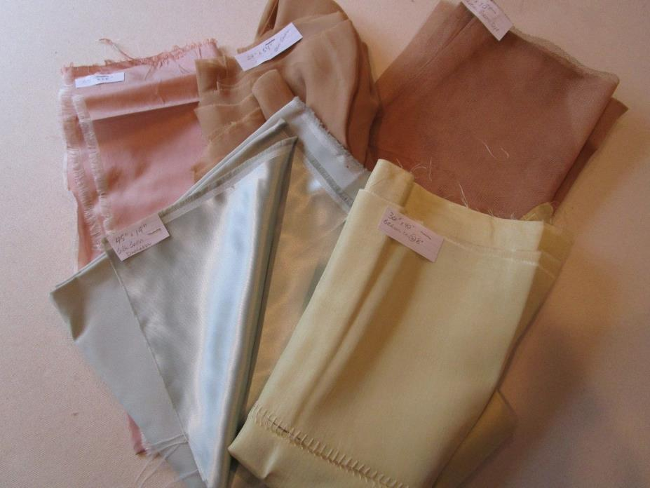 Vintage Silk Fabric Mix Lot Colors Plum Celery Tan Sea Foam satin poly Netting