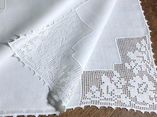 Antique Vintage Linen Tablecloth Center Floral Filet Lace Corners 36x36