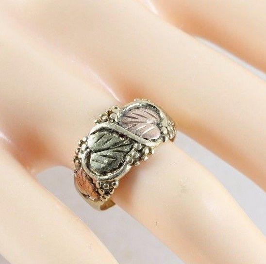 10k Black Hills Gold Ring Large Green and Rose Gold Leaf Design Band Size 6