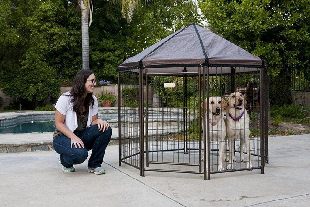 Outdoor Pet Gazebo Steel Dog Kennel Crate Cage Shelter Cover Portable Enclosure