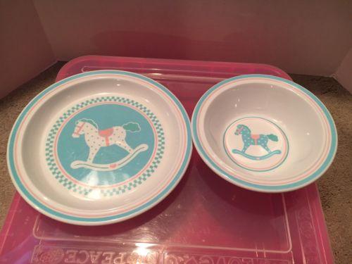 Vintage Hallmark Rockinghorse Melamine Plate And Bowl Set