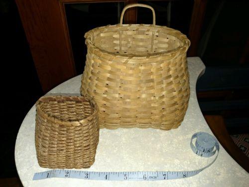 Vintage Miniature Woven Fishing Baskets