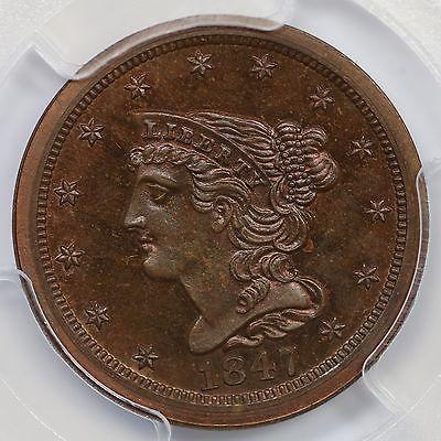 1847 Restrike PCGS PR 65 RB CAC Braided Hair Half Cent Coin 1/2c