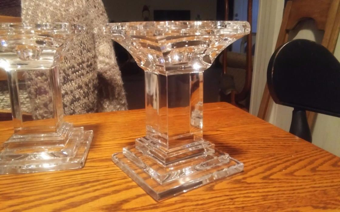 Pair of Crystal Candle Holders Pillar Style