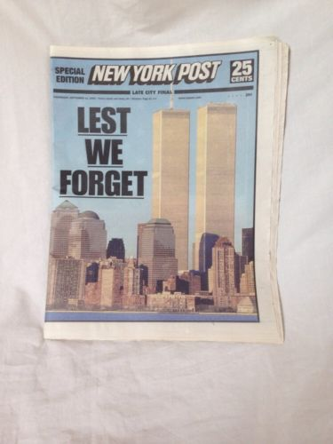 9/11 New York Post Special Edition 'Lest We Forget' September 11th 2002