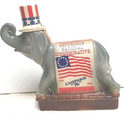 Republican Commemorative Vtg Liquor Whiskey Decanter Bottle - 1976 Ezra Brooks