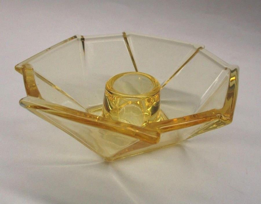 Vintage Glass Art Deco Candle Holder: Vaseline Glass Candle Holder