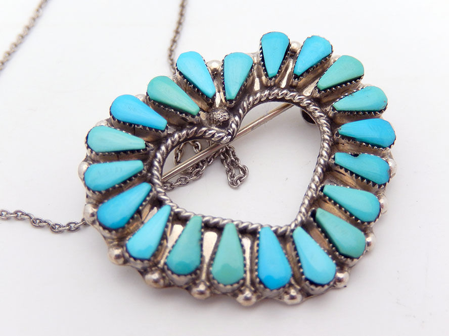 Navajo Turquoise Heart Necklace in Sterling Silver