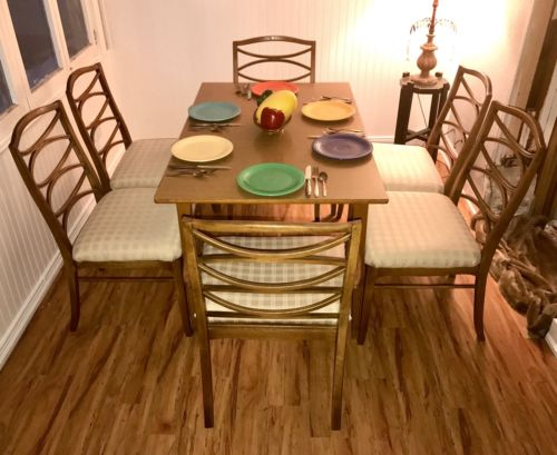 6 Mid Century Dining Chairs by Thomasville, Modern Cats-eye Dining Chairs CLEAN!