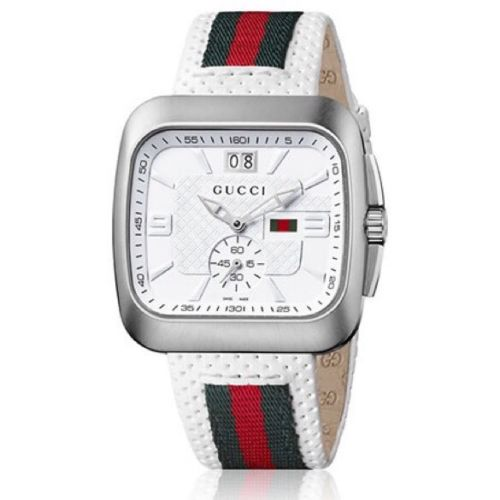 Gucci Watch  - G- Coupe White Square Leather .