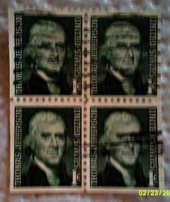 1968 U. S. Scott 1278 Thomas Jefferson four used cancelled 1 cent stamps