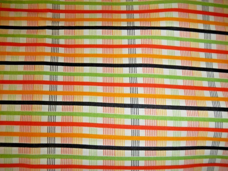 NOS Vintage Percale Fabric 1 2/3 yd x 1 yd  Plaid Green Orange Yellow Black 1940