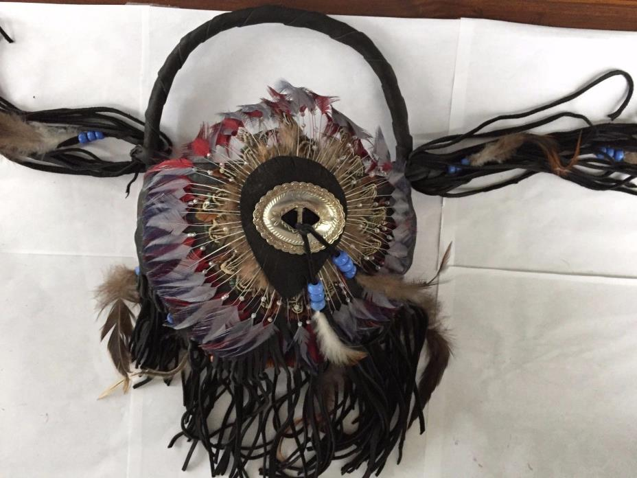 UNIQUE LEATHER FRINGE FEATHER HANGING WALL BASKET WESTERN NATIVE AM STYLE