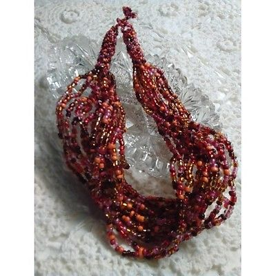 NWOT Hand Crafted Glass Beaded Necklace Oranges & Reds 20
