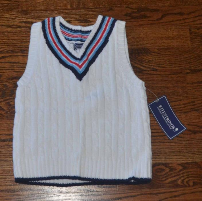 NWT KITESTRINGS BOYS 4 4T KNIT WHITE SWEATER VEST RED BLUE