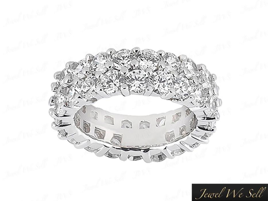 Genuine 5.40Ct Round Diamond Staggered 2Row Shared Prong Eternity Ring 18K H SI