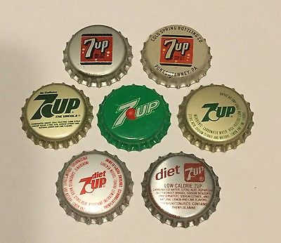 7 different 7up soda bottle caps (cork & plastic lined) unused