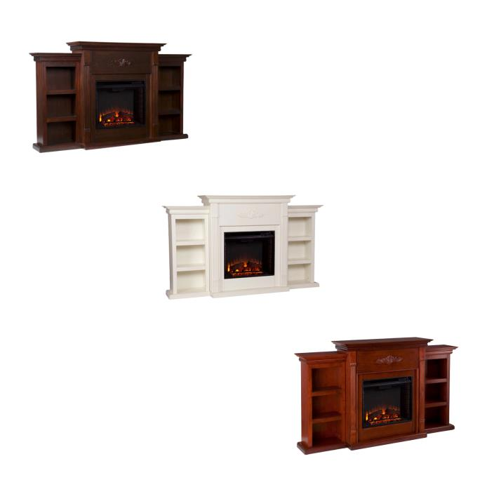 TV Console for Flat Screens with Fireplace Bookcase Electric Heaters Large Rooms