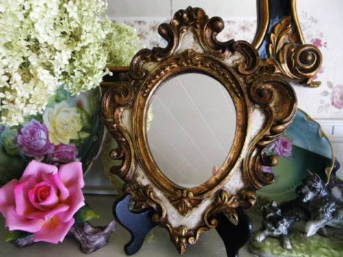 Vintage Ornate Hand Carved Wood Italian Decorative Wall Mirror