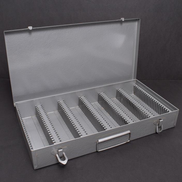 Vintage ATCO Metal Storage Case Box 35MM Slides OEM 2x2 Grey Coin Holder Pre-own