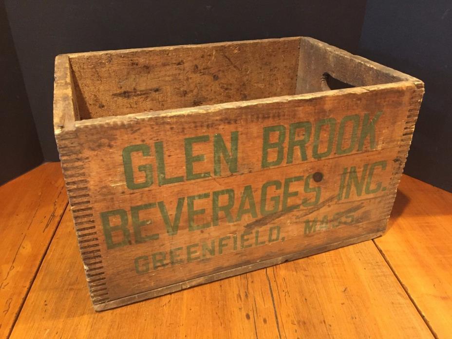 Vintage Wooden Beer Crate Advertising Glen Brook Beverages Inc. Greenfield, MA