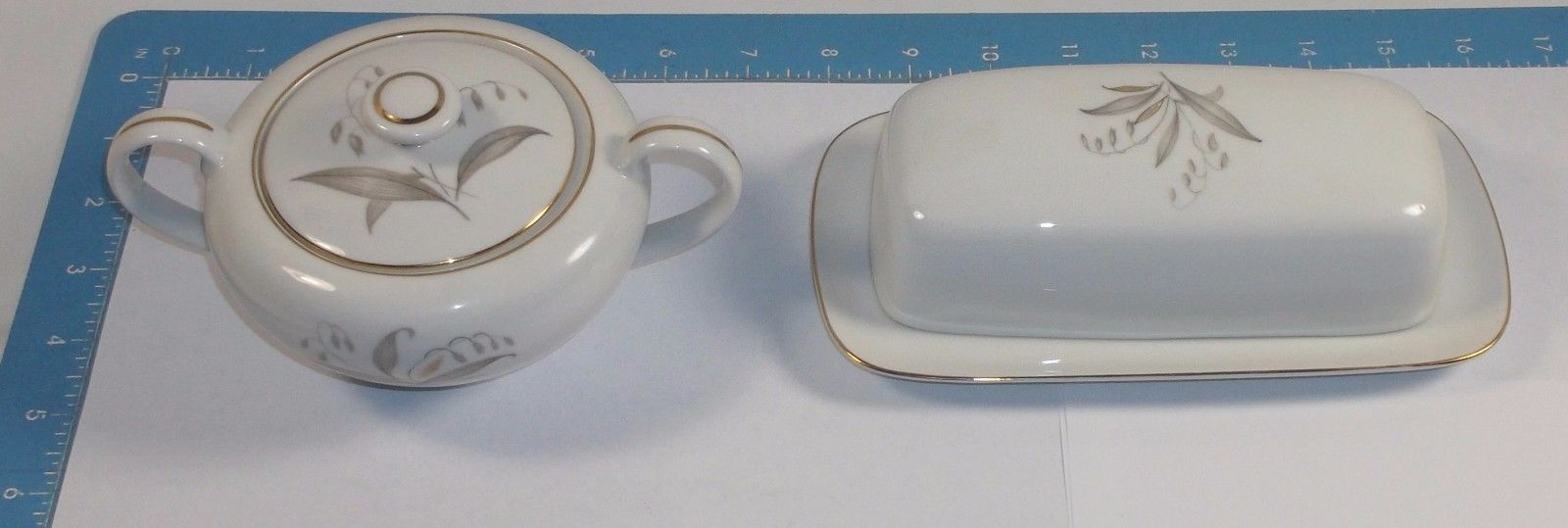 vintage Kaysons Fine China Japan GOLDEN RHAPSODY 1961 BUTTER DISH & SUGAR BOWL